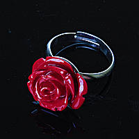 Кольцо безразмерное Роза полимерная глина красный