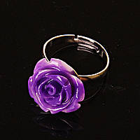 Кольцо безразмерное Роза полимерная глина фиолетовый