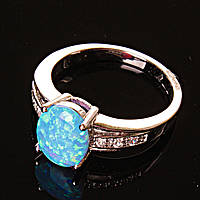 Кольцо Опал стразы голубой