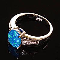 Кольцо Опал стразы синий