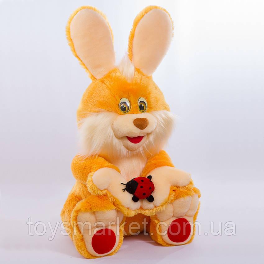 Детская мягкая игрушка,зайчик Солнечный,оранжевый