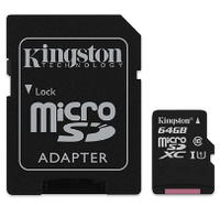 Карта памяти MicroSDHC 64Gb Kingston (SDC10G2/64GB) Gen2 Class 10 UHS-I + SD адаптер