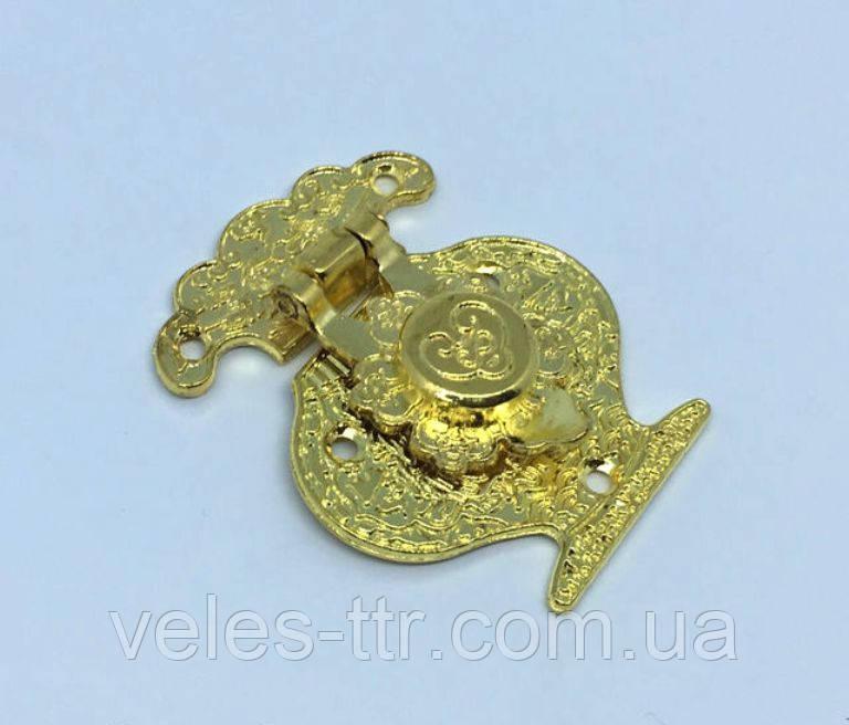 Замок для шкатулок с кнопкой золото 38х48 мм
