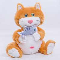 Детская мягкая игрушка,кот с рыбкой,оранжевый