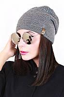Шапка вязанная женская гладь твид 006 (3 цв), женские шапки оптом, шапки от производителя, дропшиппинг