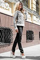 Модные женские осенние брюки с кожаными вставками и принтом
