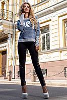Женские облегающие трикотажные брюки с кожаными вставками и молниями