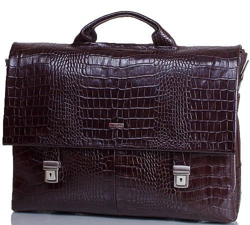 Мужской портфель из натуральной кожи  с отделением для ноутбука DESISAN (ДЕСИСАН) SHI1315-19-10KR коричневый