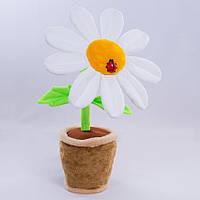 Детская мягкая игрушка,цветочек в горшке,Ромашка