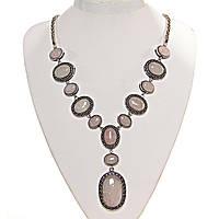 [12, 50 мм] Колье с натуральным камнем Розовый кварц серый металлл оправа крестик точка овальные круглые  камни