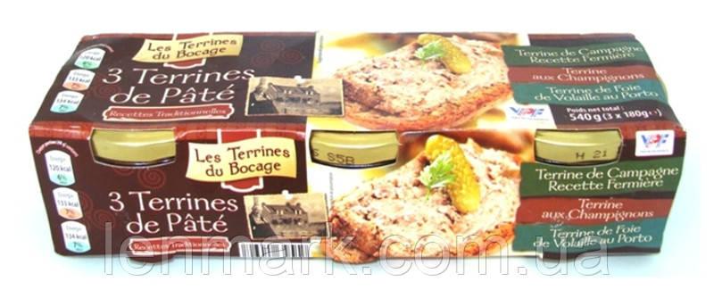 Набор паштетов Террин 3в1 Les Terrines du Bocage 3 Terrines de Pate из 3 видов,  540 г (3x180г)