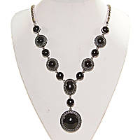 [10, 12, 18, 25 мм] Колье с натуральным камнем черный Агат серый металлл оправа крестик точка овальные круглые камни