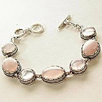[12, 18 мм] Браслет с натуральным камнем Розовый кварц серый металл ажурная оправа овальные круглые камни