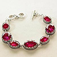[15, 20 мм] Браслет серый металл ажурная оправа овальные камни рубиновый цвет алмазная огранка
