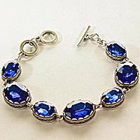 [15, 20 мм] Браслет серый металл ажурная оправа овальные камни голубой цвет алмазная огранка