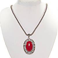 [35х20 мм] Кулон с натуральным камнем красная Яшма со стразами овальная оправа полосатая