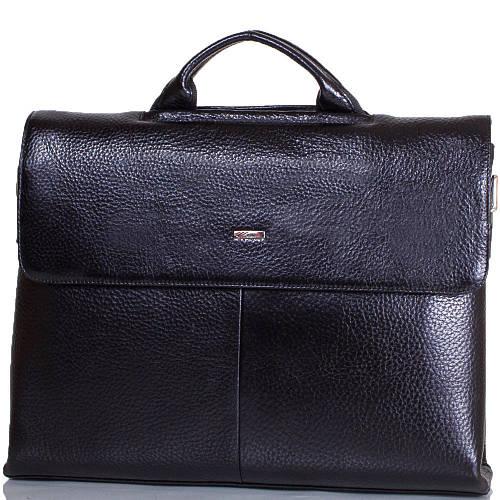 Мужской портфель из натуральной кожи с отделением для ноутбука DESISAN (ДЕСИСАН) SHI1312-011-2FL черный