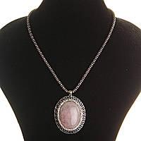 [30х40мм] Кулон на цепочке Розовый кварц крупный темно серый металл греческая оправа  со стразами овальная, фото 1