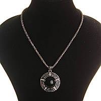 [25х25мм] Кулон на цепочке Агат крупный темно серый металл со стразами круглая оправа полосатая, фото 1