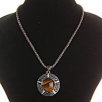 [25х25мм] Кулон на цепочке Тигровый Глаз крупный темно серый металл со стразами круглая оправа полосатая, фото 1