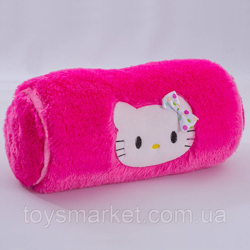 "Детская подушка валик ""Китти"", ""Хелло Китти"", ""Hello Kitty"", плюшевая подушка валик с кошкой, подголовник"