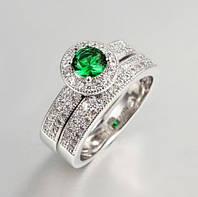 Набор из двух позолоченных колец с зелеными и белыми цирконами р 16,17,18,19 код 275