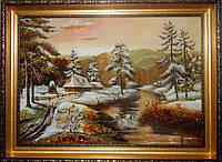 Картина из янтаря Зима