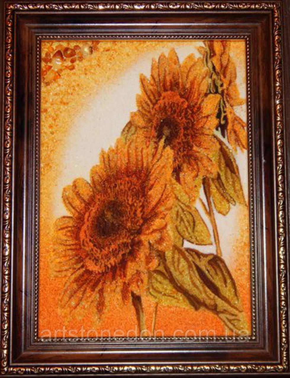 Картина из янтаря Подсолнухи