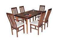 Стол в гостиную деревянный раскладной Комфорт 120(+40+40)х80х75 (венге)