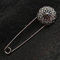[20/72 мм]Брошь-булавка металл под капельное серебро со стразами Кристал сатин
