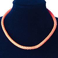 Жгут кожанный плетенка оранжевый замок страза, фото 1