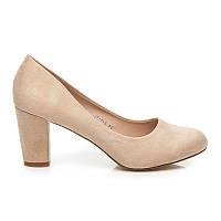 Классические женские туфли замшевые бежевые