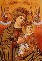 Икона Богородицы из янтаря Неустанная помощь
