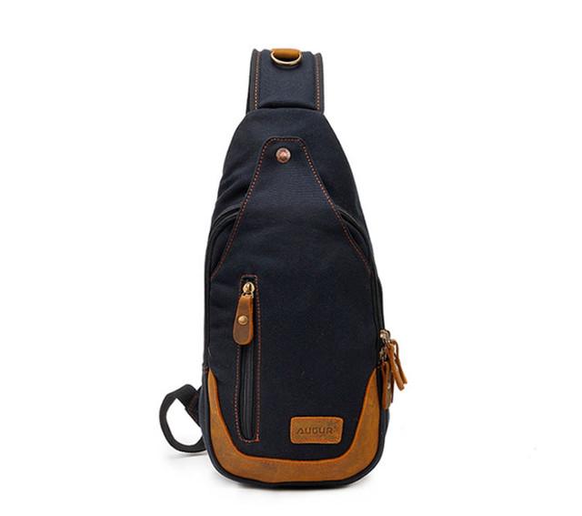 Рюкзак через одно плечо Augur | черный | вид спереди