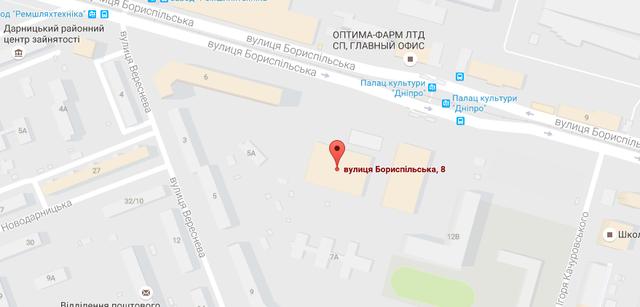 Залы школы Олимпия на карте Киева
