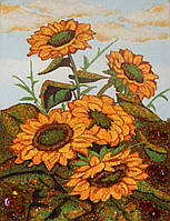 Картина из янтаря Букет подсолнухов