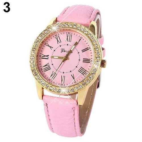 Женские кварцевые наручные часы со стразами Jeneva Cerchio Pink