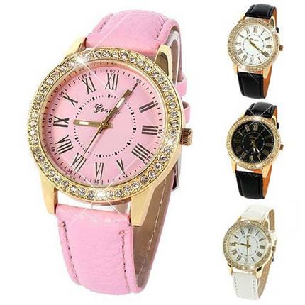 Женские кварцевые наручные часы со стразами Jeneva Cerchio Pink, фото 2