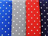 Портьерно-декоративная ткань горох белый, фон синий, фото 2
