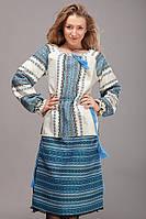 Вышиванки женские с длинным рукавом, синий орнамент