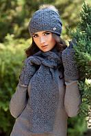 Зимний женский комплект «Афродита» (шапка, шарф и перчатки) есть разные цвета