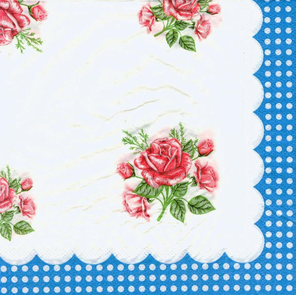 Салфетка декупажная Розы голубой край 6207