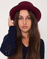 Шляпка фетровая бордовая