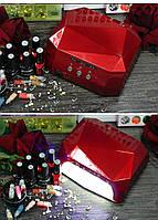 +подарок!Кристалл многогранник УФ LED+CCFL (36 Вт) гибридная лампа для гель-лаков и геля 10, 30 и 60 сек