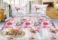 Комплект евро постельного белья из полисатина светлый