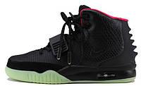 Мужские высокие кроссовки Nike Air Yeezy 2 Black Green Red Найк Аир Изи черные