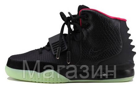 53259a11 Мужские высокие кроссовки Nike Air Yeezy 2 Black Green Red Найк Аир Изи  черные, фото