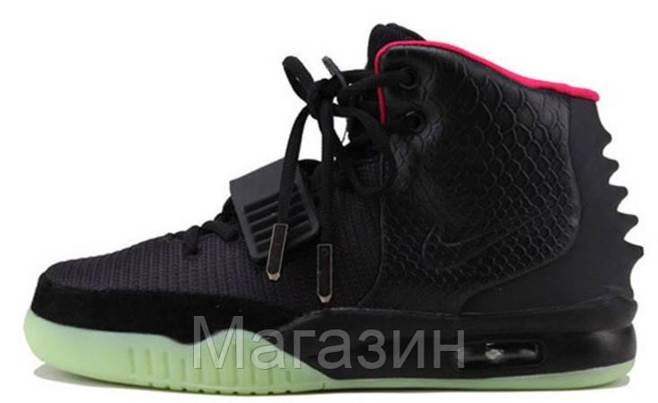 2ad3ab8c Мужские высокие кроссовки Nike Air Yeezy 2 Black Green Red Найк Аир Изи  черные - Магазин
