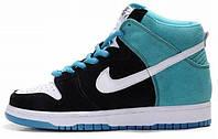 Мужские высокие кроссовки Nike Dunk Найк Данк синие/черные/белые