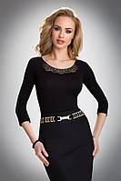 Женская офисная блуза из вискозы черного цвета с рукавом три четверти. Модель Ashley Eldar.